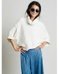 Free People | Natural Boxy Turtleneck Pullover | Lyst