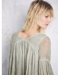 Free People - Green Womens Washed Gauzy Peasant Top - Lyst
