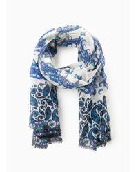 Violeta by Mango Blue Paisley Cotton Scarf
