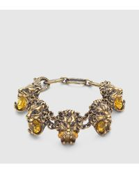 Gucci - Metallic Lion Head Bracelet With Crystals - Lyst