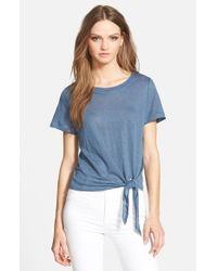 Amour Vert | White Julita Tie-Front Linen T-Shirt | Lyst
