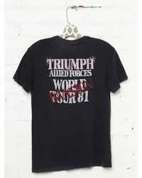 Free People Black Womens Vintage Triumph Allied Forces Rock Tee