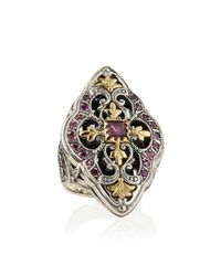 Konstantino | Multicolor Silver & 18k Gold Rhodolite Marquise Flower Ring | Lyst