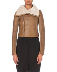 Rick Owens | Brown Shearling Leather Jacket | Lyst