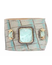 Armenta | Green Turquoise Diamond Leather Cuff Bracelet Grayturquoise | Lyst