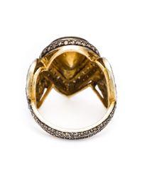 Kirat Young | Metallic Diamond Drop Ring | Lyst