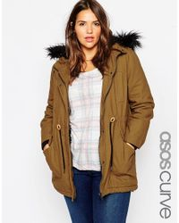 ASOS - Brown Curve Cocoon Parka - Lyst
