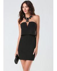Bebe Black Plunging Flyaway Dress