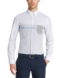 BOSS Green White 'bour' | Slim Fit, Stretch Cotton Button Down Shirt for men