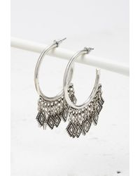 Forever 21 - Metallic Etched Charms Hoop Earrings - Lyst