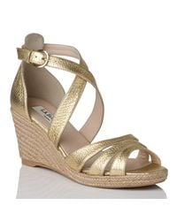 L.K.Bennett Metallic Priya Grained Leather Espadrille Wedge Sandals