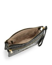 Brahmin | Black Winnie Embossed Leather Wristlet | Lyst