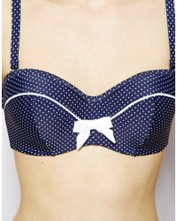 Panache Blue Swim Britt Bandeau Bikini Top With Detachable Straps D-g