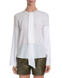 Givenchy - White Silk Crepe Neck-tie Blouse - Lyst