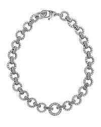Lagos - Metallic Enso Silver Diamond Link Bracelet - Lyst