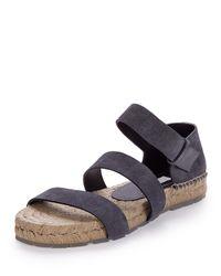 Balenciaga Gray Three-Strap Espadrille Sandals