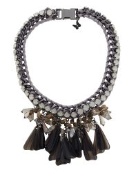 Max Mara | Gray Canasta Short Necklace With Glass Jewels | Lyst