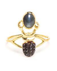 Daniela Villegas | Metallic Diamond And Alexandrite Beetle Ring | Lyst