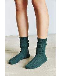 Urban Outfitters - Green Rib Slouchy Boot Sock - Lyst