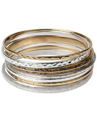 Robert Lee Morris | Metallic Two-tone Texture And Abalone Bangle Bracelet Set | Lyst