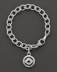 Judith Ripka | Metallic Sterling Silver Evil Eye Charm Bracelet | Lyst