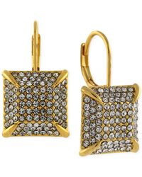 Vince Camuto | Metallic Gold-tone Pave Square Drop Earrings | Lyst