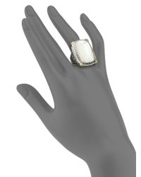 Konstantino - Metallic Selene Mother-of-pearl, 18k Yellow Gold & Sterling Silver Rectangle Ring - Lyst