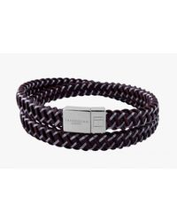 Tateossian | Intrecciato Bracelet In Brown Leather And Steel With Silver Clasp for Men | Lyst