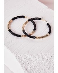 Missguided - Colour Block Chain Hoop Earrings Black - Lyst