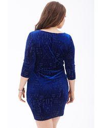 Forever 21 - Blue Baroque Burnout Sheath Dress - Lyst