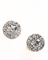 Lauren by Ralph Lauren | Metallic Round Pave Stud Earrings | Lyst
