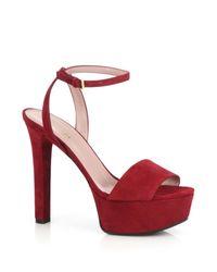 Gucci | Red Leila Suede Platform Sandals | Lyst