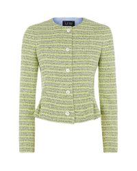 Armani Jeans | Green Peplum Stripe Jacket | Lyst