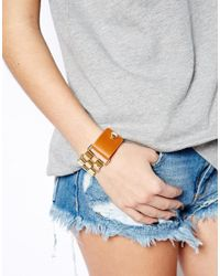 French Connection - Brown Chain Link Leather Bracelet - Lyst