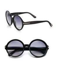 Tom Ford | Black Juliet 55Mm Round Sunglasses | Lyst