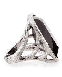 Elizabeth Showers | Black Onyx Rhodiumplated Silver Ring Size 7 | Lyst