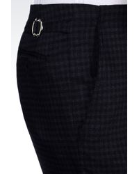 Armani - Gray Classic Checked Wool Blend Trousers for Men - Lyst