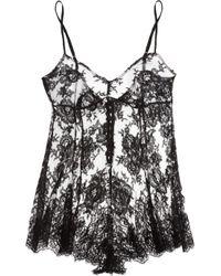 Rosamosario | Black Bling Bling Love Silk-Lace Playsuit | Lyst