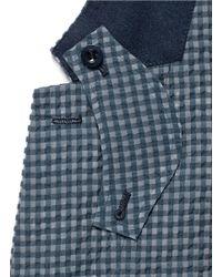 Sacai - Blue Gingham Check Seersucker Blazer for Men - Lyst