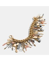 COACH | Multicolor Mixed Metal Icons Curbchain Bracelet | Lyst