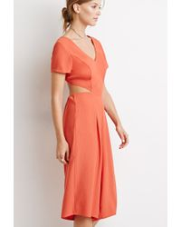 Forever 21 - Orange Open-back Culottes Jumpsuit - Lyst