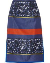 SUNO Blue Printed Faille Skirt