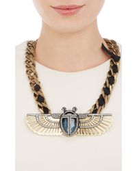 Lanvin - Metallic Luxor Winged Beetle Pendant Necklace - Lyst
