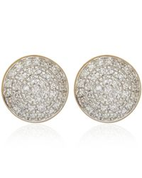 Monica Vinader | Metallic Gold Vermeil Diamond Ava Button Stud Earrings | Lyst