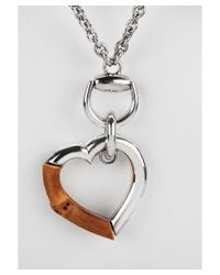 Gucci - Brown Women's Bamboo Heart Charm Sterling Silver Necklace - Lyst