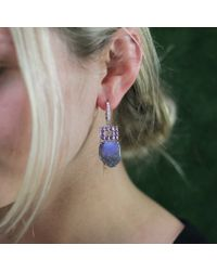 Dana Rebecca | Opal Earrings With Purple Sapphire | Lyst