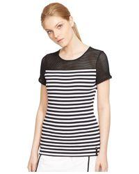 77336ef6bd60c Lyst - Lauren by Ralph Lauren Striped Mesh-Yoke Top in Black