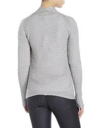Max Studio | Gray Ribbed Open Front Cardigan | Lyst