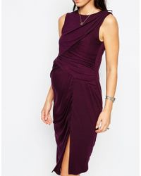 ASOS Purple Asymmetric Body-conscious Dress With Ruched Panels