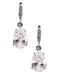 Givenchy | Metallic Silvertone And Crystal Teardrop Earrings | Lyst
